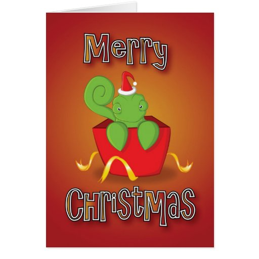chameleon - box - merry christmas greeting card
