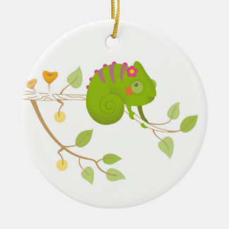 Chameleon branch christmas ornament