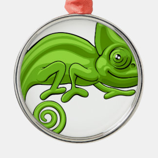 Chameleon Cartoon Character Silver-Colored Round Decoration