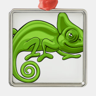 Chameleon Cartoon Character Silver-Colored Square Decoration