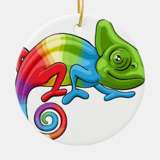 Chameleon Cartoon Rainbow Character Christmas Ornament