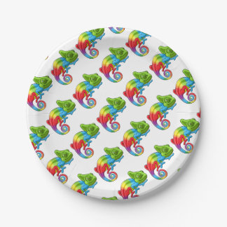 Chameleon Cartoon Rainbow Character Paper Plate