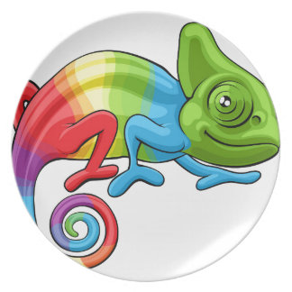Chameleon Cartoon Rainbow Character Plate