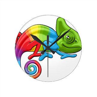 Chameleon Cartoon Rainbow Character Round Clock