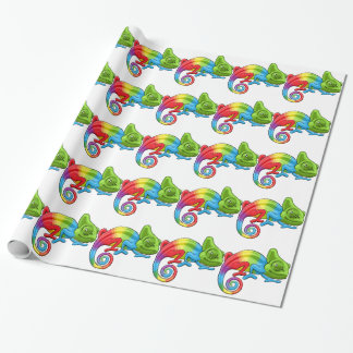 Chameleon Cartoon Rainbow Character Wrapping Paper