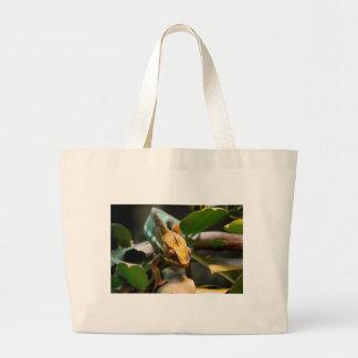 Chameleon coming forward large tote bag