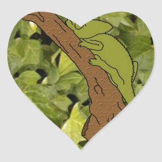 Chameleon Forest Heart Sticker