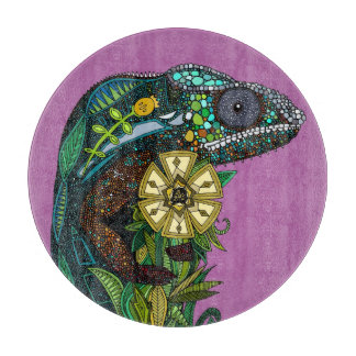 chameleon orchid cutting board