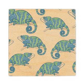 Chameleon Pattern Wood Coaster