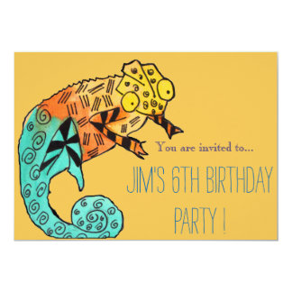 Chameleon reptile illustration boy birthday party 5x7 paper invitation card