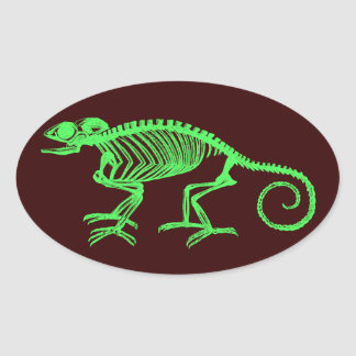 Chameleon Skeleton Oval Sticker