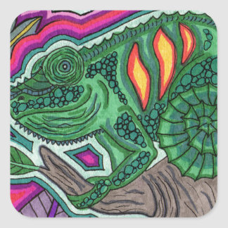 chameleon square sticker
