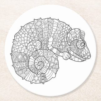 Chameleon Zendoodle Round Paper Coaster