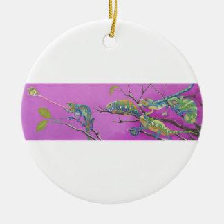 Chameleons, lizards christmas ornament