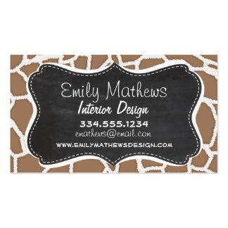 Chamoisee Giraffe Animal Print; Chalkboard look Pack Of Standard Business Cards