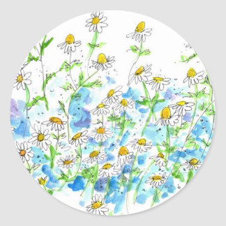 Chamomile Daisy Garden Herb Watercolor Round Sticker