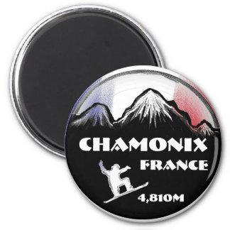 Chamonix France flag snowboard art magnet