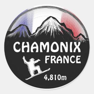Chamonix France flag snowboard art stickers