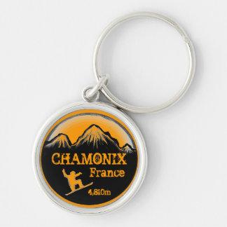 Chamonix France orange snowboard art keychain
