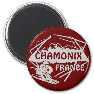 Chamonix France red ski logo art magnet