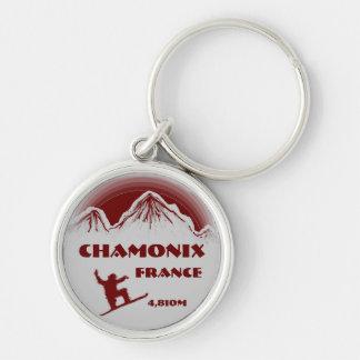Chamonix France red snowboard art keychain