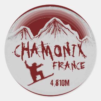 Chamonix France red snowboard art stickers