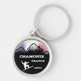 Chamonix France snowboard art flag keychain