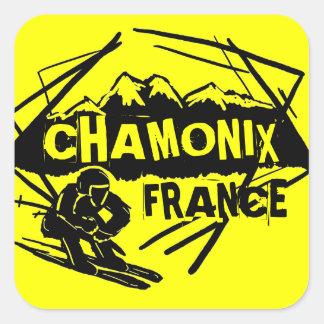 Chamonix France yellow ski logo art stickers