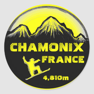 Chamonix France yellow snowboard art stickers
