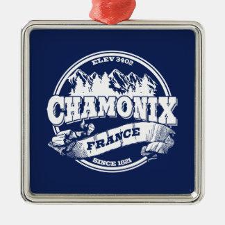Chamonix Old Circle Blue Silver-Colored Square Decoration