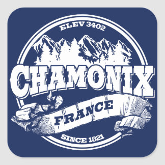 Chamonix Old Circle Blue Square Sticker