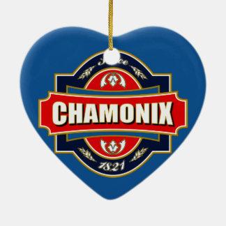 Chamonix Old Label Ceramic Heart Decoration
