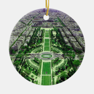 Champ-de-Mars from the Eiffel Tower Round Ceramic Decoration