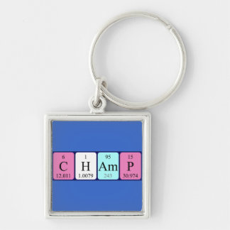 Champ periodic table name keyring Silver-Colored square key ring
