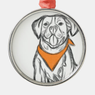 Champ the Pittie Silver-Colored Round Decoration