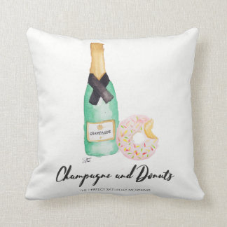Champagne and Donuts Watercolor Pillow