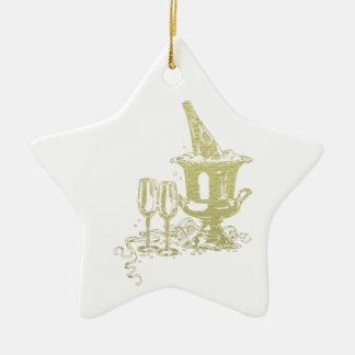 Champagne and Glasses Art Ceramic Star Decoration