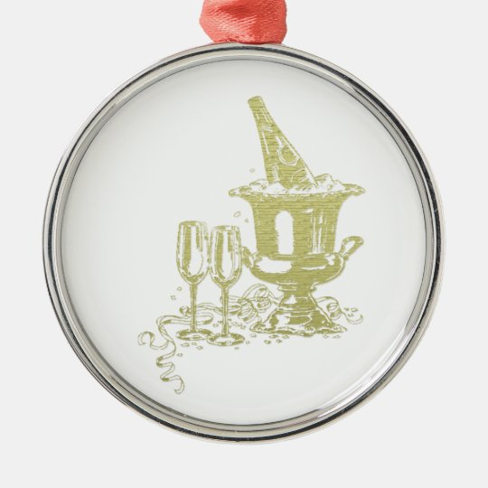 Champagne and Glasses Art Christmas Ornament
