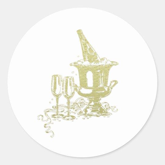 Champagne and Glasses Art Classic Round Sticker