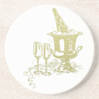 Champagne and Glasses Art Coaster