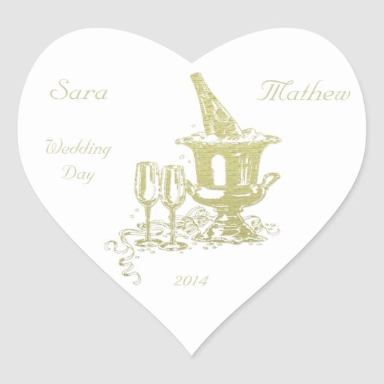 Champagne and Glasses Art Heart Sticker
