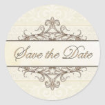 Champagne and Gold Filigree Save the Date Sticker