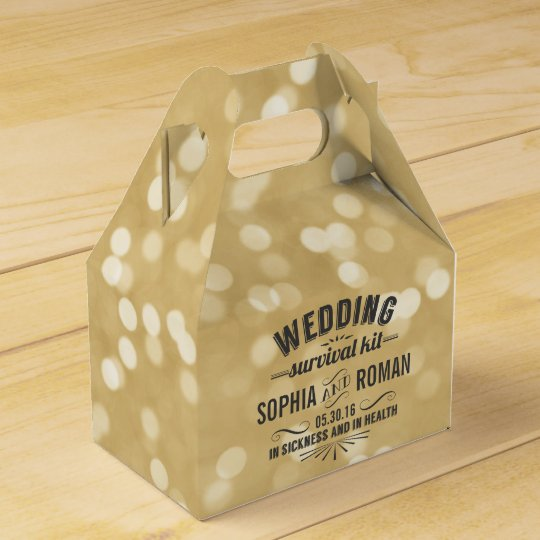 Champagne and Grey Wedding Survival Kit Favour Box