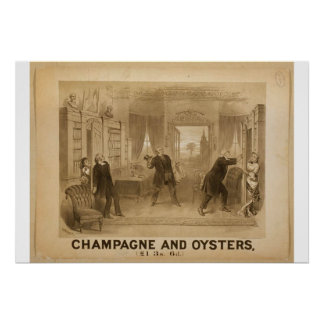 Champagne and Oysters Retro Theater Poster