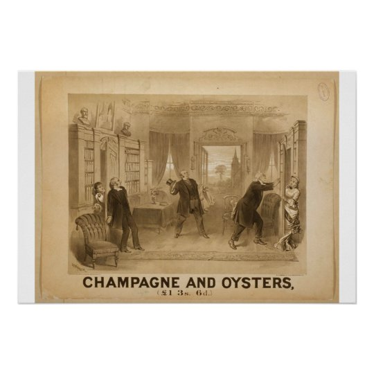 Champagne and Oysters Retro Theatre Poster