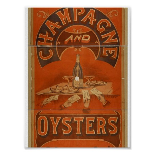 Champagne and Oysters Vintage Theatre Poster