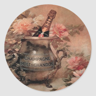 Champagne and Roses Classic Round Sticker