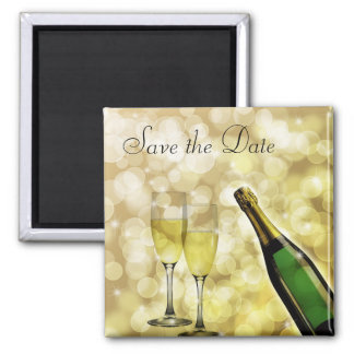 Champagne and Toasting Flutes Save the Date Magnet