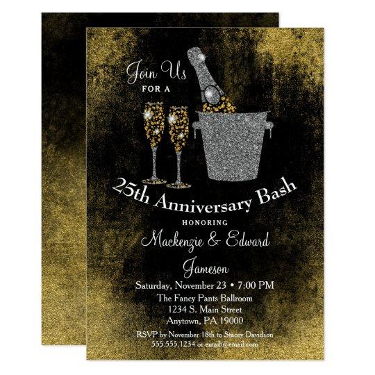 Champagne Anniversary Invitation Black Gold Silver