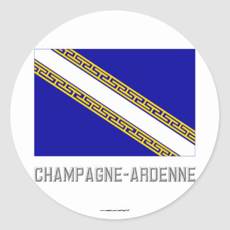 Champagne-Ardenne flag with name Classic Round Sticker